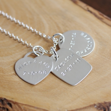 Personalized Thick Silver Family Necklace - Luxe - Choose How Many Charms