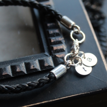 Personalized Silver and Leather Unisex Initial Bracelet - Laine Bracelet