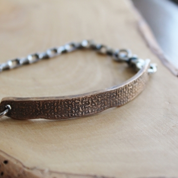 Men's Custom Secret Message Bar Bracelet In Bronze & Sterling - James Bracelet