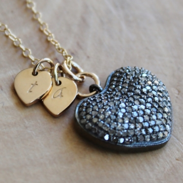 Personalized Pave Diamond Heart Necklace - Symbol of Love With Initials