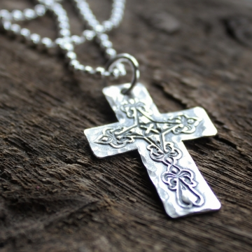 Men's Personalized Fine Silver Rustic Cross Necklace Men's Gift