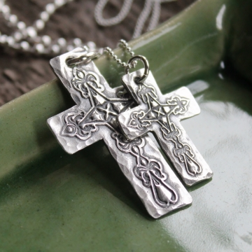 His & Hers Personalized Silver Cross Necklace Set - Rustic Everyday Faith Set