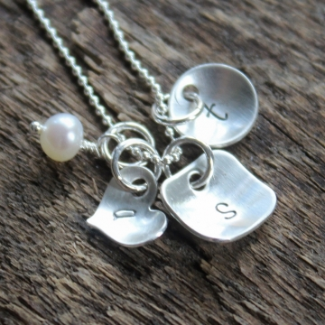 Personalized Initial Necklace - Hand Stamped Silver Teeny Variety Necklace