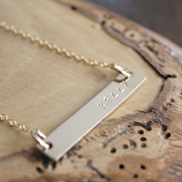 Kelly Necklace, Personalized Thick 14k Gold Bar Name Necklace, Hand Stamped Skinny Bar,