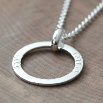 Personalized Sterling Silver Open Circle Mother's Necklace -  Kinley Necklace