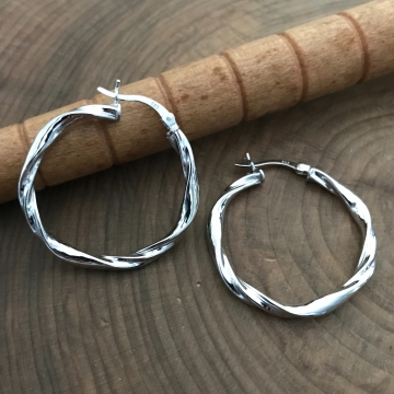 Sterling Silver Large Twisted Hoop Earrings - Large Twist Earrings