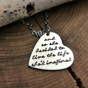 The Life She Imagined Quote Necklace