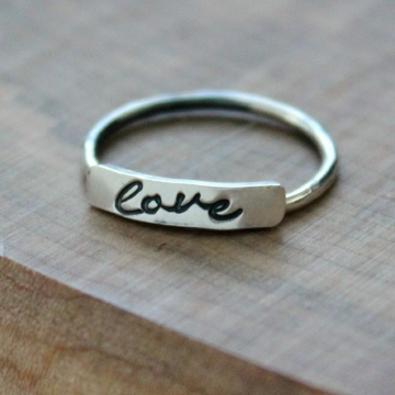 Personalized Silver Word Ring, Stacking Ring, Name Ring, Mommy Ring - Love Ring