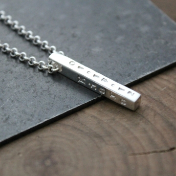 Silver Bar Necklace, 4 Sided Bar, Men's Necklace, Woman's Necklace, Personalized Necklace, Family Necklace - Lucas