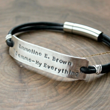 Men's Chunky Silver And Leather Bar Bracelet, Personalized Masculine, Rustic, Rugged, Bar and Thick Leather Bracelet, Men's Gift - Jones Bracelet