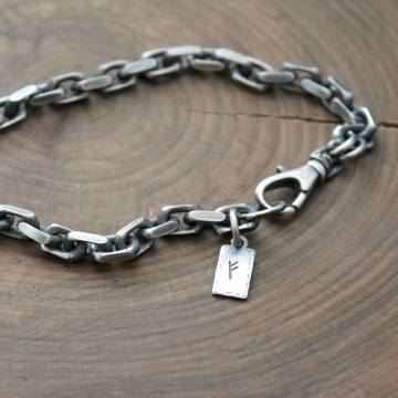 Men's Personalized Bracelet, Sterling Silver, Chain Bracelet - Spencer Bracelet