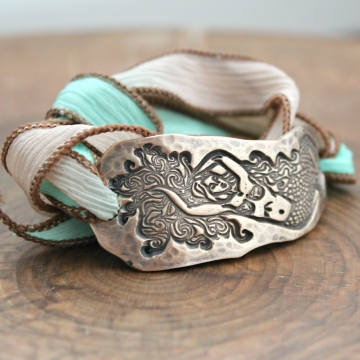 Mermaid Silk Wrap Bracelet, Bronze Under Sea Mermaid Bracelet - Ariel Bracelet