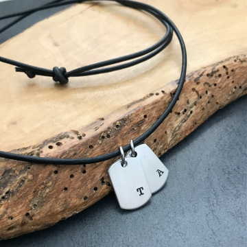 Men's Mini Dog Tag Initial Necklace, Men's Dog Tag Necklace, Personalized Initial Necklace