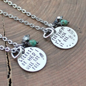 Mother Daughter Necklace Set, Mother's Day Necklace, Quote Jewelry, Inspirational Mother Daughter Jewelry, Family Necklace Set, Gift For Mom - I Will Not Fall, I'd Risk It All, Mother Daughter Gift Set