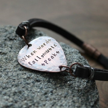 Men's Personalized Rustic Guitar Pick Bracelet on Leather and Copper, Vintage Inspired - When Words Fail, Music Speaks
