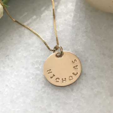 The Nicholas Necklace, Unisex Personalized Gold Necklace, Round Coin Necklace