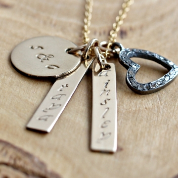 Personalized Gold & Diamond Heart Family Necklace, Hand Stamped, Custom, Candace Necklace