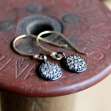 Pave Diamond And Gold or Sterling Dangle Earrings, Eclipse Earrings