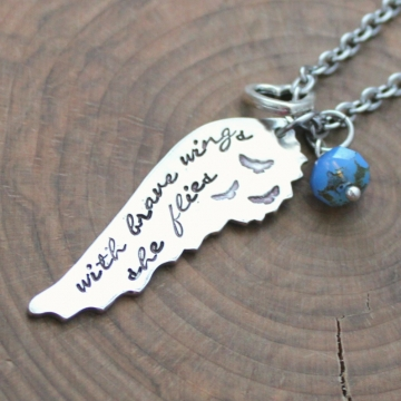 Inspirational Necklace - With Brave Wings She Flies