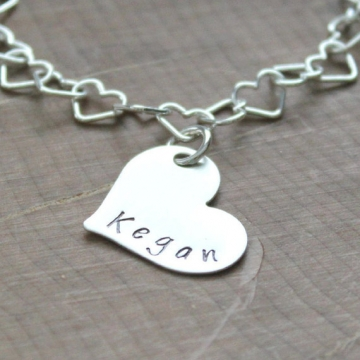Personalized Children's Silver Heart Bracelet - Logan Bracelet