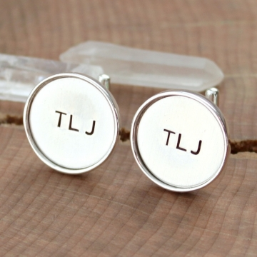 Custom Initial or Monogram Cuff links, Men's Gift, Groom, Groomsmen Gift - Solid Sterling Silver