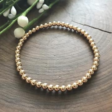 Gold Sophie Bracelet, Gold Bead Bracelet, 14K Gold Fill Stretch Bead Layering Bracelet,