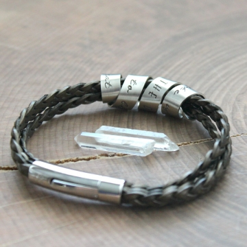 Secret Spinning Message Bracelet Personalized Leather and Silver Scroll Bracelet - Tyler Bracelet