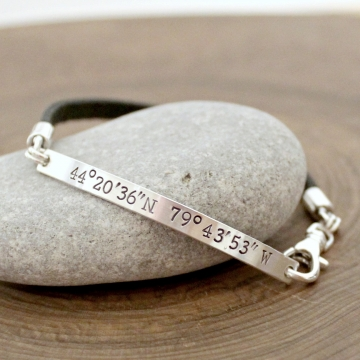 Personalized Coordinates Bracelet, Sterling Silver And Leather - Quinn Bracelet