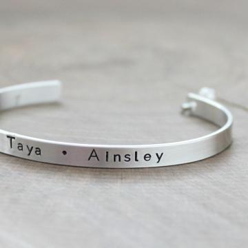 Sterling Silver Personalized Cuff Bracelet, Skinny Cuff - Cassidy Bracelet