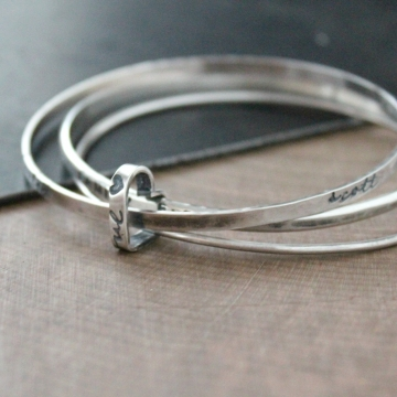 Personalized Family Bangle Trio Set - Ainsley Bracelet