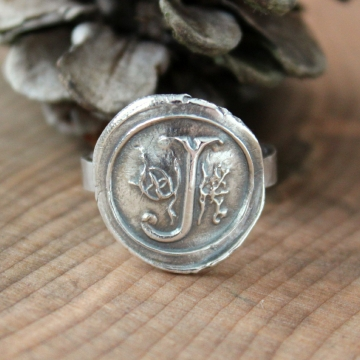 Silver Wax Seal Monogram Ring, Hand Pressed Raw and Rustic Recycled Pure Silver