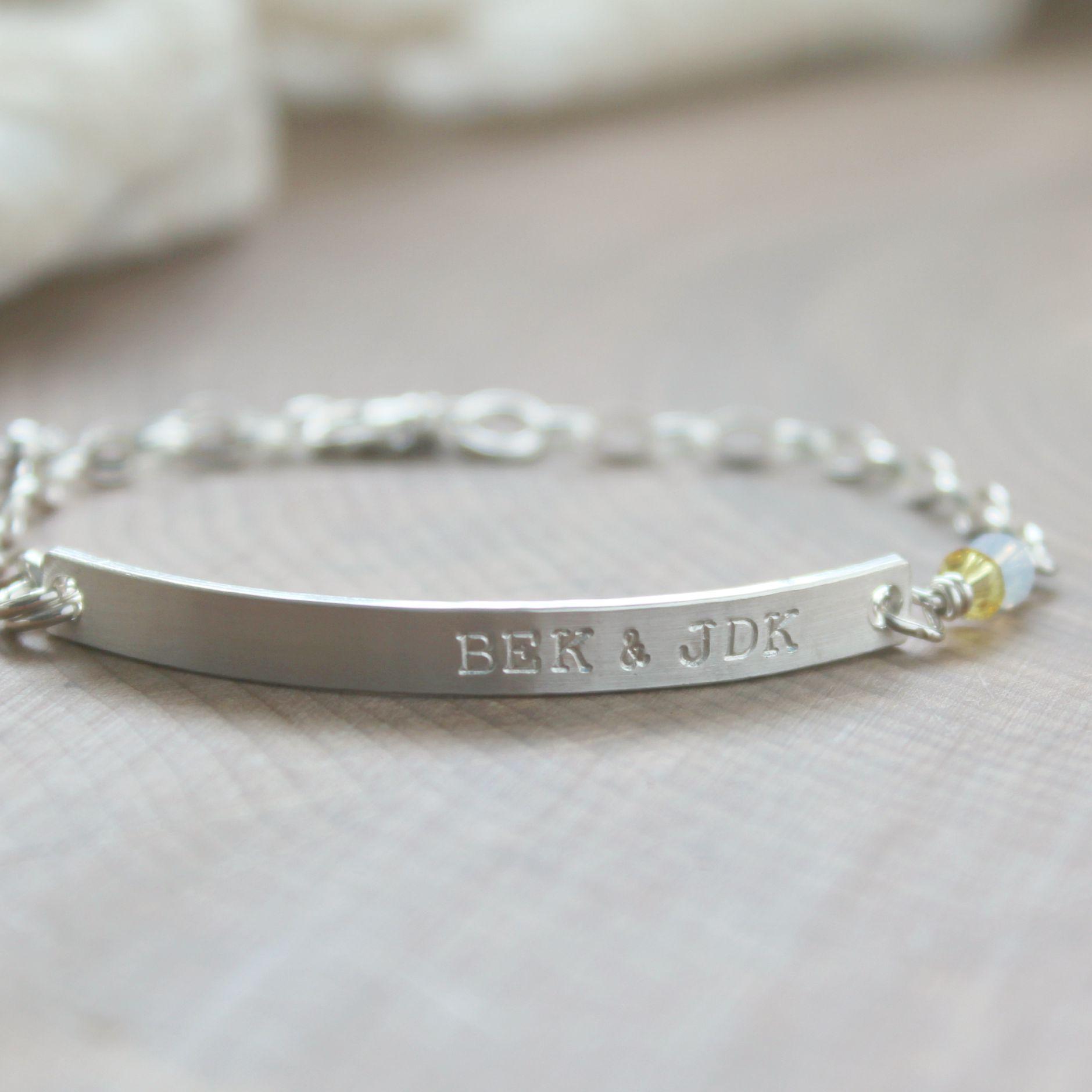 0a4d76c9783ffc Skinny Silver ID Bracelet, Custom Personalized Bar Bracelet, Initial Or Name  Bracelet, Sterling Silver Thick And Skinny Bar, Coordinates Bracelet - Liza  ...